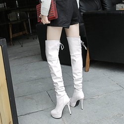 Shoespie Stylish Stiletto Heel Lace-Up Back Thigh High Boots