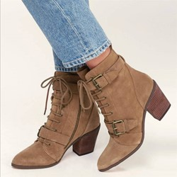 Shoespie Stylish Round Toe Side Zipper Buckle Ankle Boots