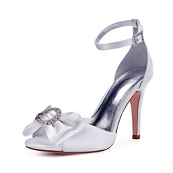 Shoespie Trendy Line-Style Buckle Bow Peep Toe Wedding Shoes