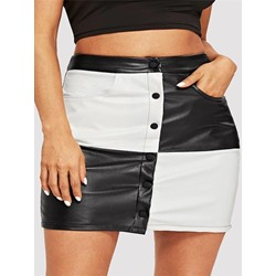 Color Block Bodycon High-Waist Women's Mini Skirt