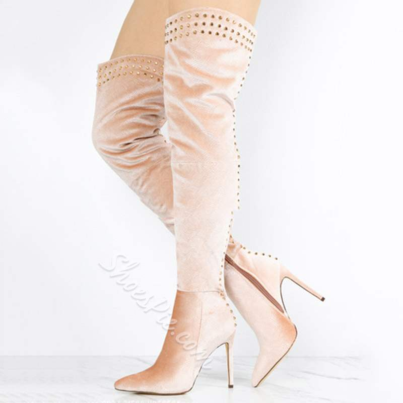 Shoespie Trendy Slip-On Stiletto Heel Rivet Thigh High Boots