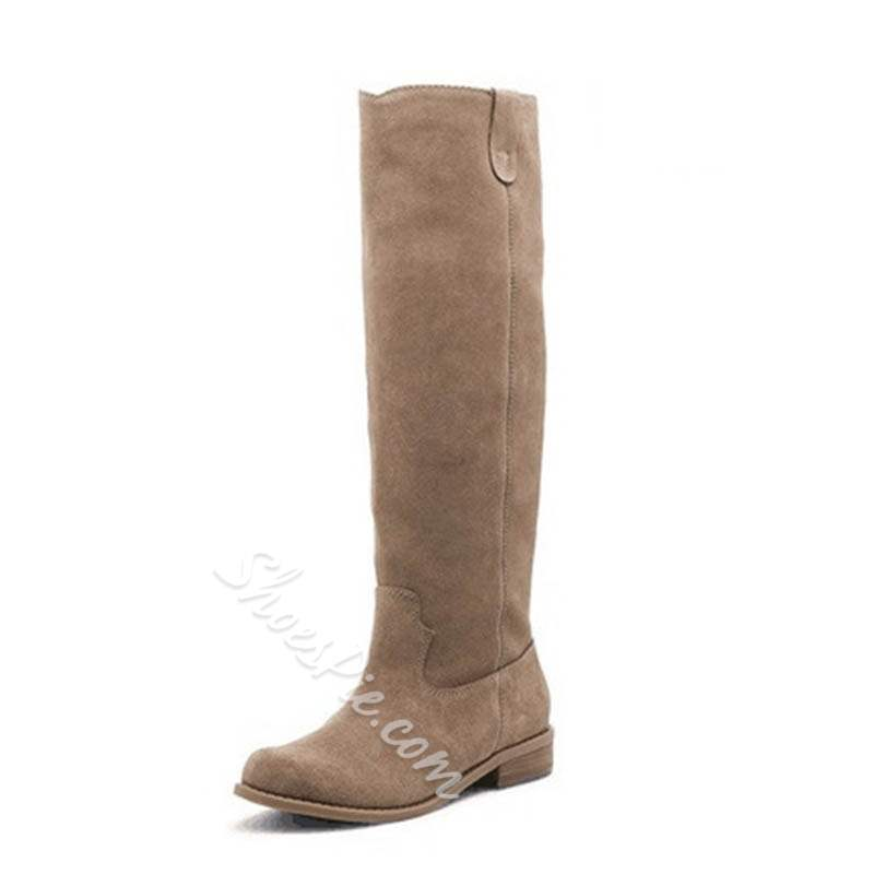 Shoespie Trendy Plain Block Heel Round Toe Knee High Boots