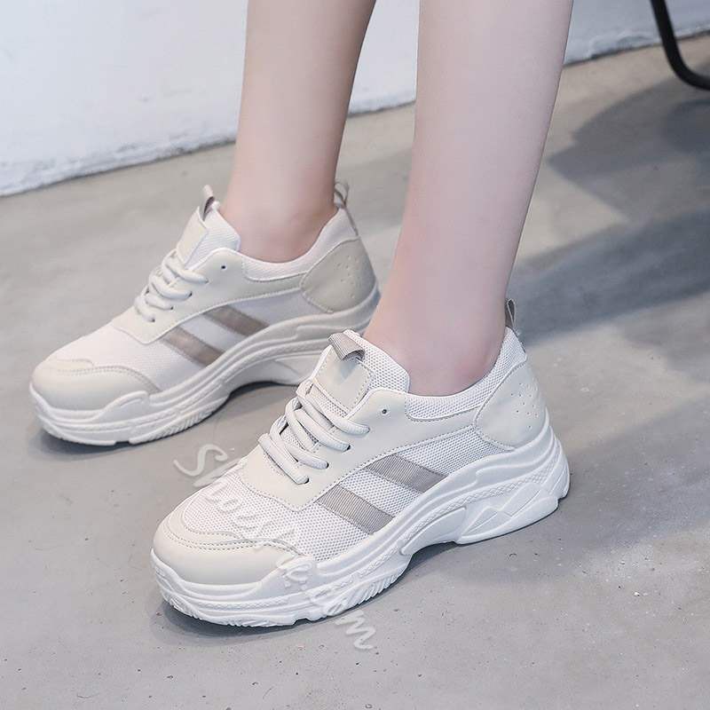 Shoespie Sexy Round Toe Lace-Up Platform Casual Sneakers