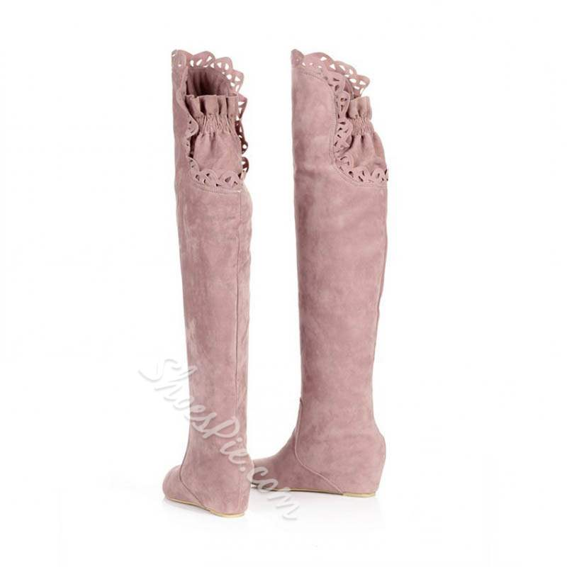 Shoespie Stylish Round Toe Hidden Heel Thigh High Boots