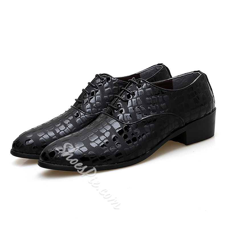 Shoespie Plaid Lace-Up Leather Mens's Shoes