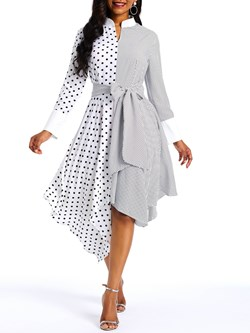 Mid-Calf Asymmetric Polka Dots Women's Maxi Dress