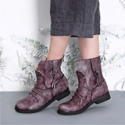 Shoespie Stylish Back Zip Round Toe Pleated Ankle Boots