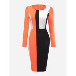 Patchwork Round Neck Office Lady Women's Bodycon Dress
