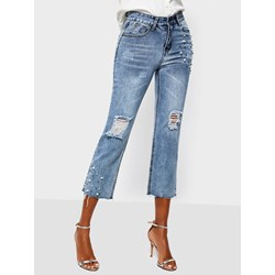 Bead Plain Straight Zipper Women's Jeans