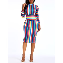 Knee-Length Stripe Color Block Spring Women's Bodycon Dress