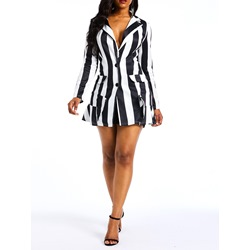 Notched Lapel Sexy Strioe Print Women's Bodycon Dress