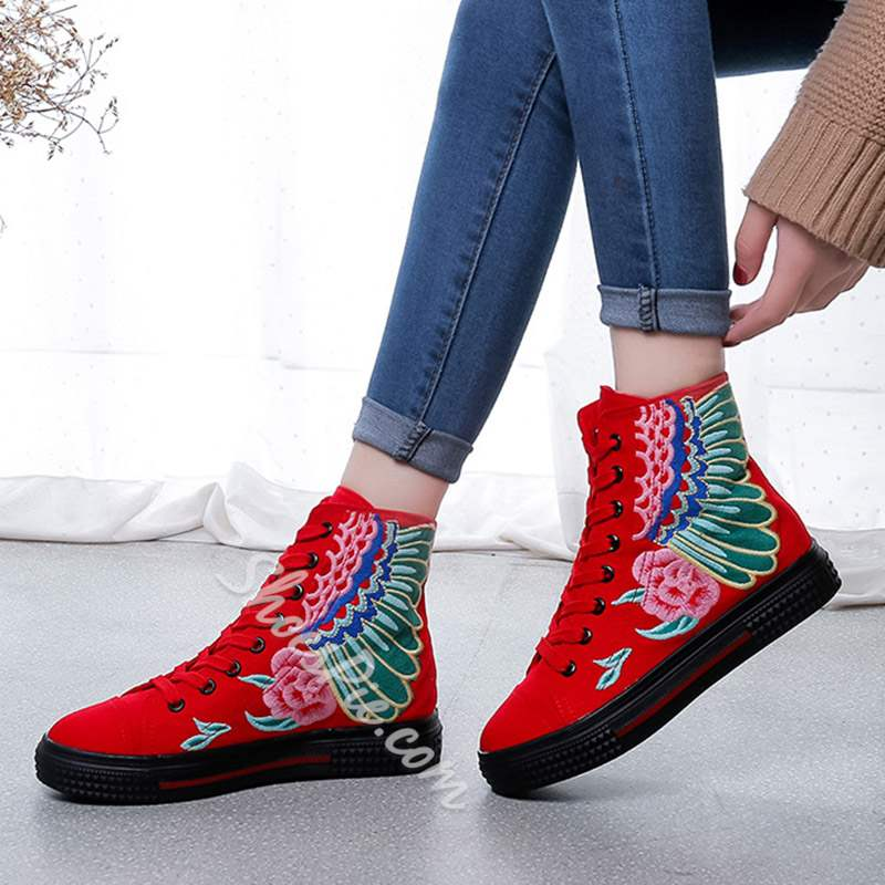 Shoespie Trendy High-Cut Upper Lace-Up Round Toe Sneakers