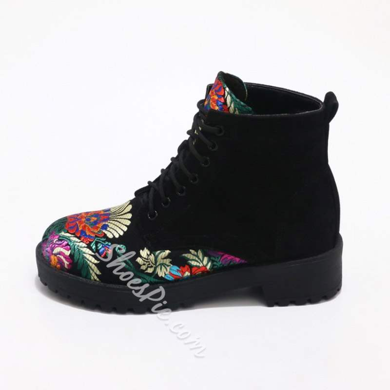Shoespie Trendy Lace-Up Floral Round Toe Short Floss Ankle Boots