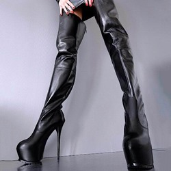 Shoespie Trendy Round Toe Platform Stiletto Heel Thigh High Boots