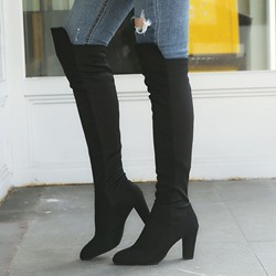 Shoespie Sexy Round Toe Chunky Heel Color Block Knee High Boots
