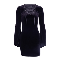 Long Sleeve Above Knee Lace-Up Plain Women's Bodycon Dress