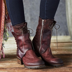 Shoespie Sexy Side Zipper Round Toe Lace-Up Ankle Boots