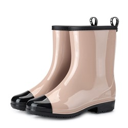 Shoespie Round Toe Slip-On Block Heel Rain Boots