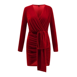 Above Knee Pleated Long Sleeve Pullover Women's Bodycon Dress