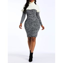 Patchwork Sweater Color Block Women's Bodycon Dress