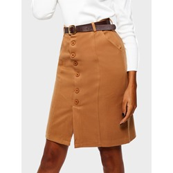 Button A-Line Casual Women's Skirt