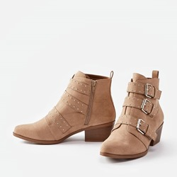 Shoespie Stylish Round Toe Plain Block Heel Ankle Boots