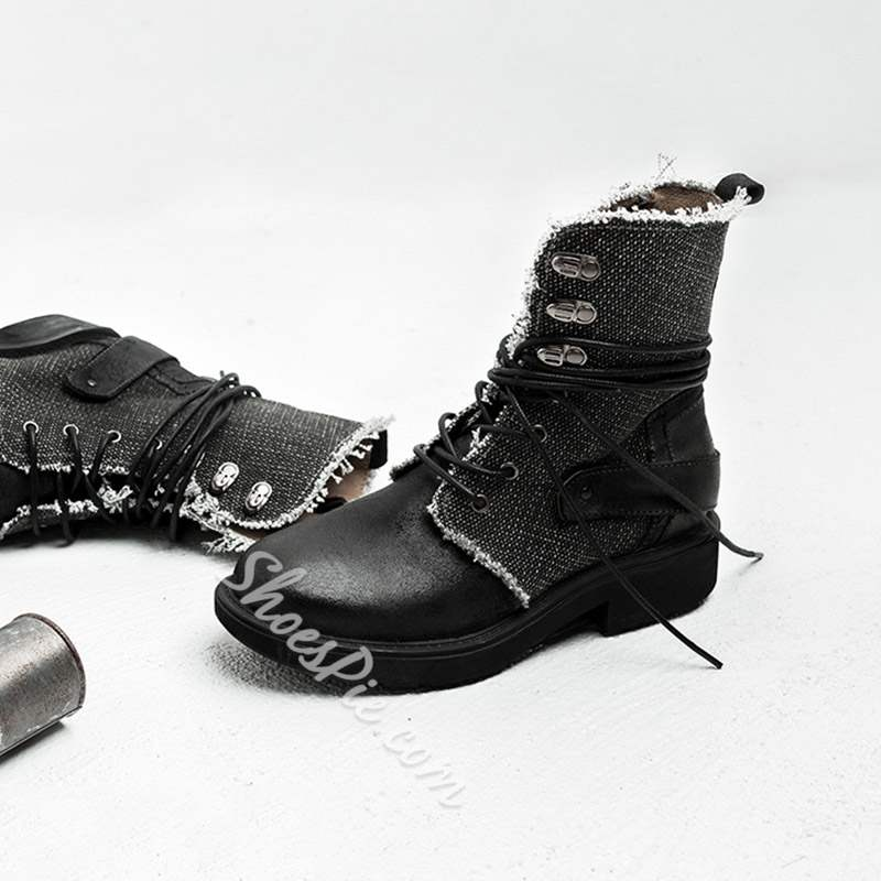 Shoespie Casual Round Toe Block Heel Lace-Up Front Ankle Boots