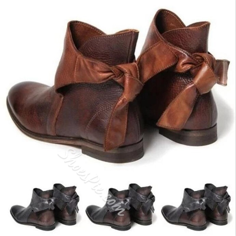 Shoespie Trendy Round Toe Lace-Up Back Ankle Boots