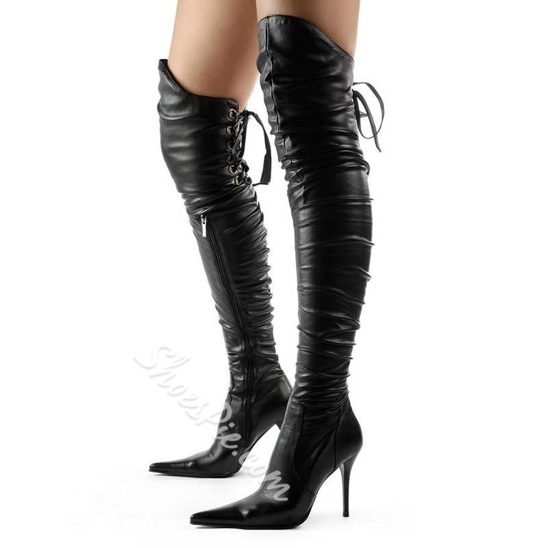 Shoespie Sexy Plain Pointed Toe Stiletto Heel Thigh High Boots