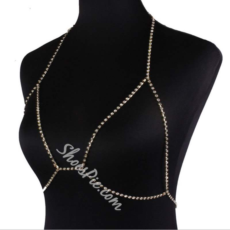 Sparkling Metallic E-Plating Bikini Body Chain