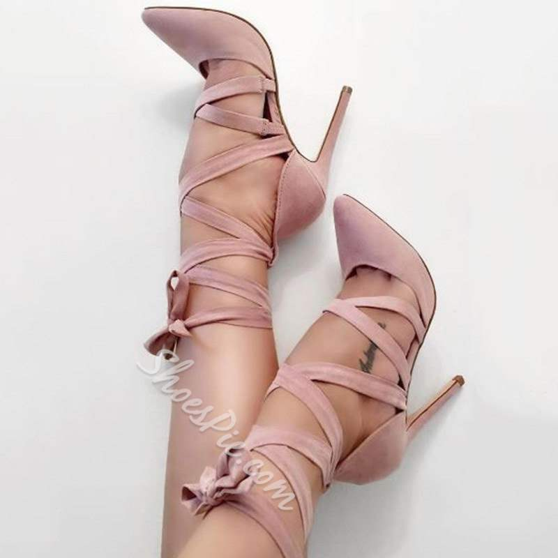 Shoespie Stylish Stiletto Heel Lace-Up Pointed Toe Stiletto Heels