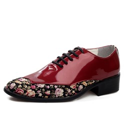 Shoespie Low-Cut Upper Floral Pointed Toe Men's Leather Shoes
