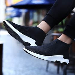 Shoespie Mid-Cut Upper Elastic Pointed Toe Men's Sneakers