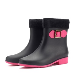 Shoespie Trendy Block Heel Round Toe Slip-On Rain Boots