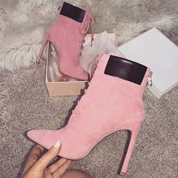 Shoespie Sexy Color Block Stiletto Heel Pointed Toe Ankle Boots