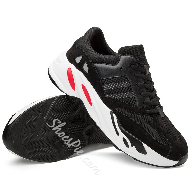 Shoespie Platform Lace-Up Low-Cut Mesh Men's Sneakers