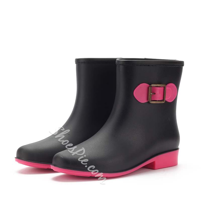 Shoespie Trendy Round Toe Slip-On Block Heel Rain Boots
