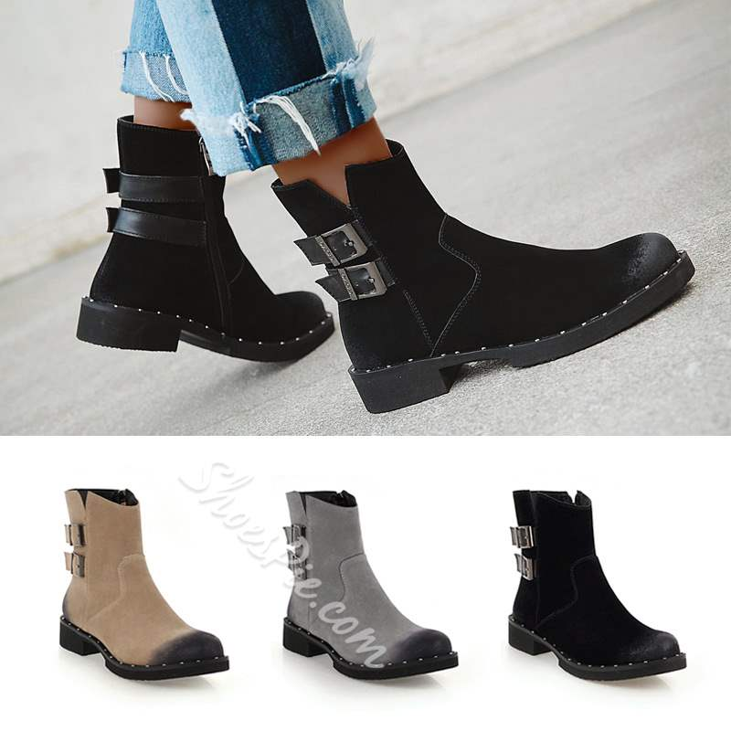 Shoespie Stylish Color Block Round Toe Side Zipper Ankle Boots