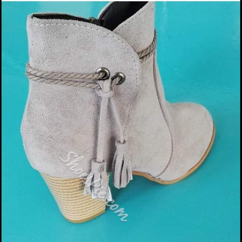Shoespie Trendy Chunky Heel Plain Round Toe Ankle Boots