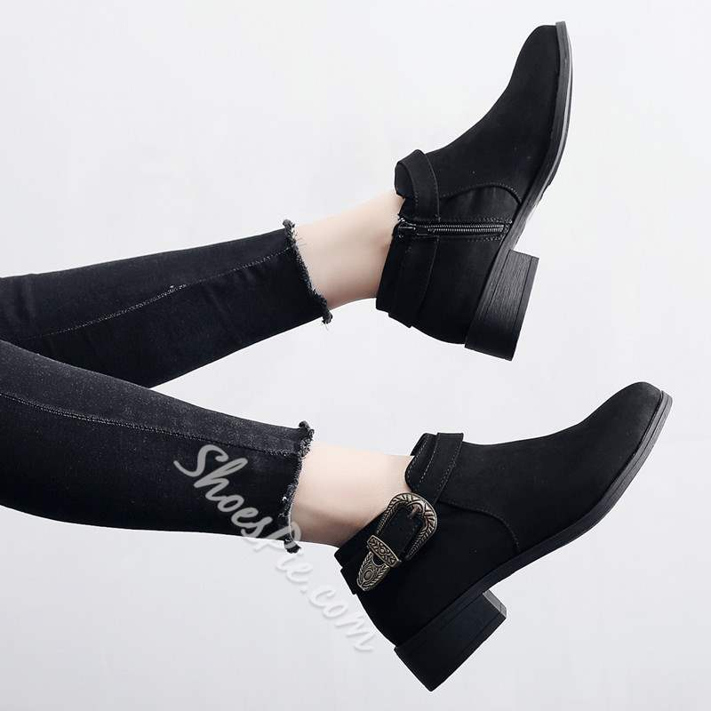 Shoespie Stylish Side Zipper Round Toe Plain Zipper Ankle Boots