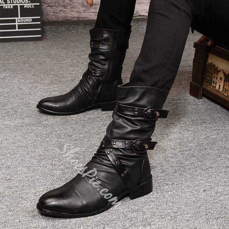 Shoespie Side Zipper Pointed Toe Plain Men's Ankle Boots