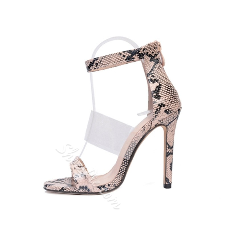 Shoespie Stylish Serpentine Zipper Stiletto Heel Dress Sandals