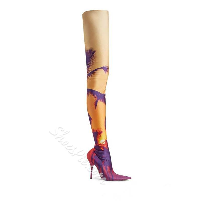 Shoespie Stylish Pointed Toe Stiletto Heel Slip-On Thigh High Boots
