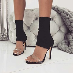 Shoespie Black Clear High Heel Sandals