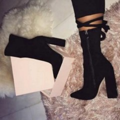 Shoespie Trendy Side Zipper Pointed Toe Chunky Heel Ankle Boots