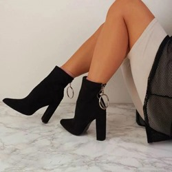 Shoespie Trendy Back Zip Plain Pointed Toe Ankle Boots