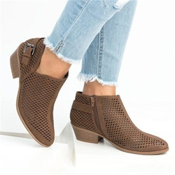 Shoespie Sexy Pointed Toe Slip-On Hollow Out Ankle Boots