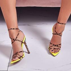 Shoespie Sexy Ankle Strap Stiletto Heel Buckle Leopard Sandals
