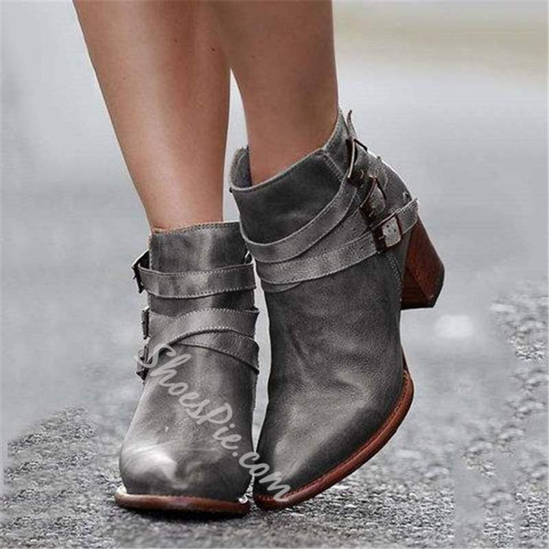 Shoespie Trendy Pointed Toe Hasp Buckle Ankle Boots