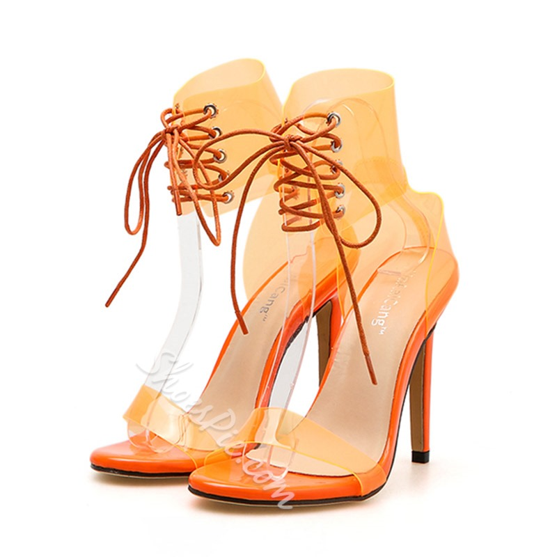 Shoespie Trendy Heel Covering Lace-Up Stiletto Heel Cross Strap Sandals